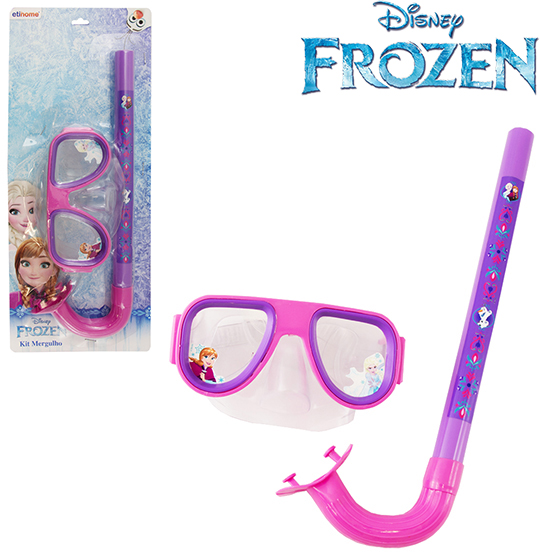 KIT MERGULHO COM MASCARA/SNORKEL FROZEN NA CARTELA