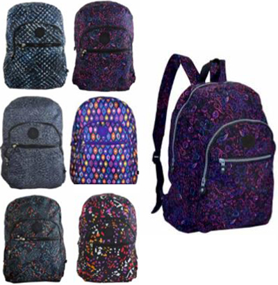 MOCHILA JUVENIL FEMININA ESTAMPADA NOT SO BASIC COLORS 17''