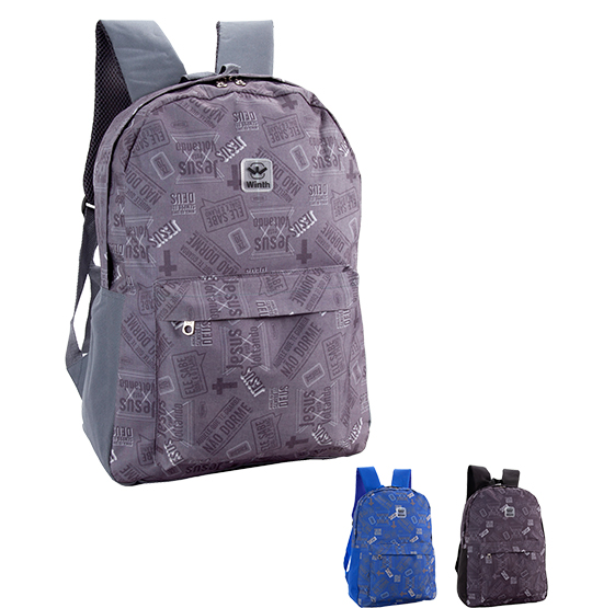 MOCHILA JUVENIL MASCULINA BASIC WINTH JESUS 17'' COLORS
