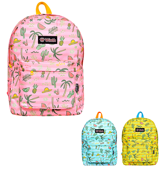 MOCHILA JUVENIL FEMININA BASIC WINTH TROPICAL 17''
