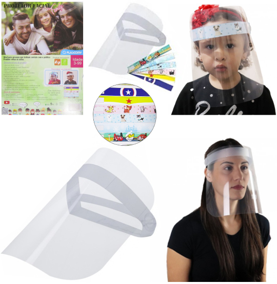 MASCARA / PROTETOR FACIAL / FACE SHIELD FAMILY 3 A 99 ANOS COM 6 ADESIVOS 240X240MM