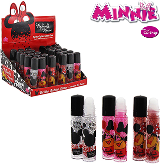 BRILHO LABIAL COM GLITTER MINNIE MOUSE SORTIDOS 5ML