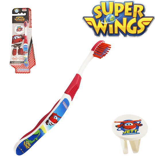 ESCOVA DENTAL INFANTIL MACIA COM CAPA SUPER WINGS JETT NA CARTELA