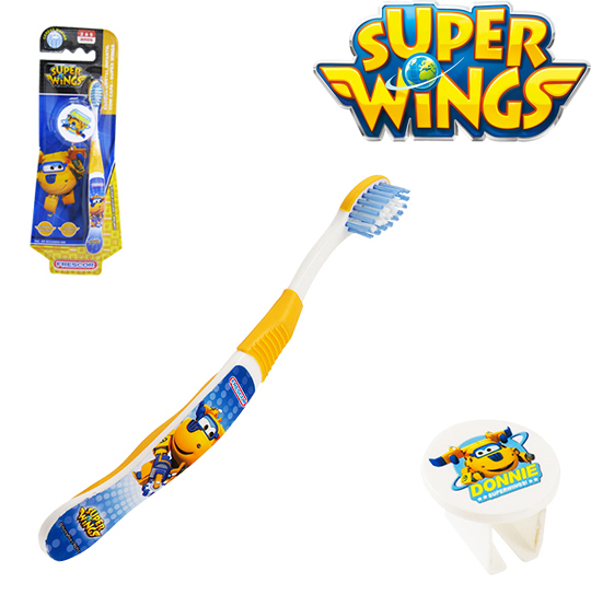 ESCOVA DENTAL INFANTIL COM CAPA SUPER WINGS DONNIE NA CARTELA