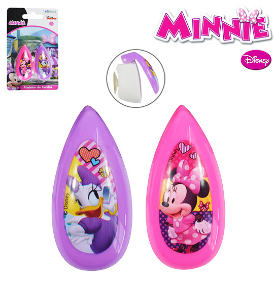 PROTETOR DE CERDA PARA ESCOVA DENTAL COM VENTOSA COLORS MINNIE KIT COM 2 PECAS