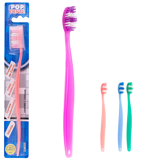 ESCOVA DENTAL MEDIA COM PROTETOR DE CERDA COLORS POP DENTE