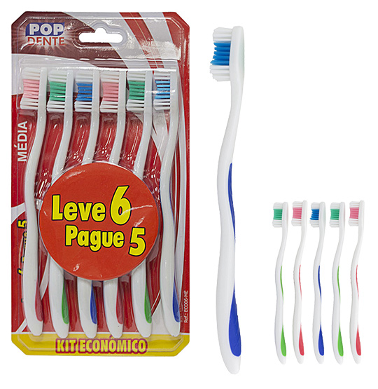 ESCOVA DENTAL MEDIA COLORS KIT COM 6 PECAS NA CARTELA POP DENTE