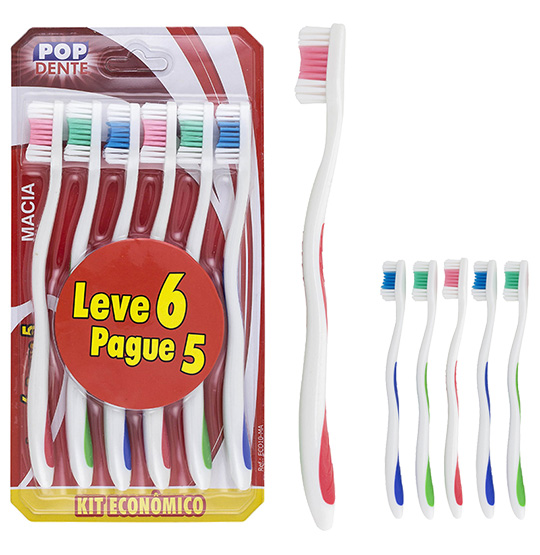 ESCOVA DENTAL MACIA COLORS KIT COM 6 PECAS NA CARTELA POP DENTE