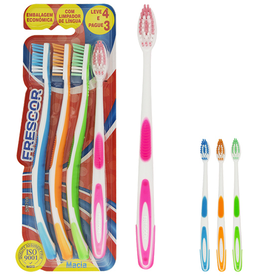 ESCOVA DENTAL MACIA COLORS KIT COM 4 PECAS NA CARTELA