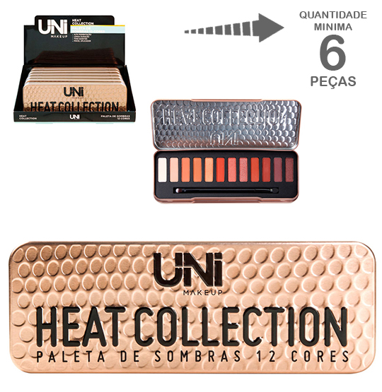 PALETA DE SOMBRA COM 12 CORES HEAT COLLECTION + PINCEL 15,6G NO ESTOJO DE METAL